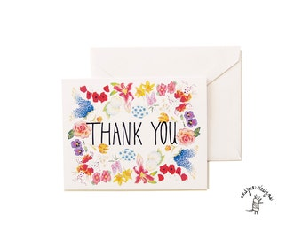 THANK YOU - Botanical Flowers Card Set- A2- Blank