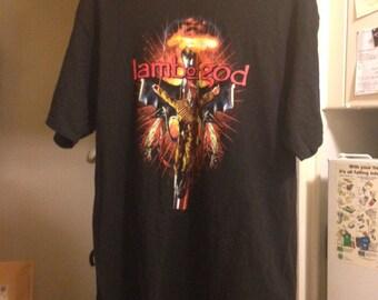 Rare Vintage Hanes Heavyweight Heavy Metal Lamb of God Band T-Shirt Size Adult Medium