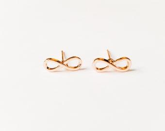 infinity earrings, love earrings, infinite love earrings, stud earrings in gold, silver or Rosegold