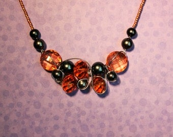 Orange and gray necklace