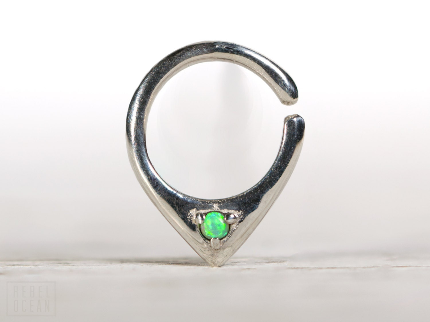 opal septum ring nose ring jewelry sterling silver with