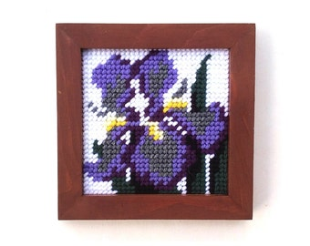 Vintage purple iris needlepoint, lavender iris embroidery, plastic canvas art, violet flower artwork, purple orchid wall decor framed flower