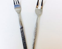 Tina Nasco Stainless Japan Two Prong Pickle Fork and Japan Northland Stainless Three Prong Fork, Cocktail Seafood Olive Forks - Two Fork Set