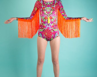 Fringed Lycra Festival Bodysuit Playsuit with long sleeves. Folklorico.