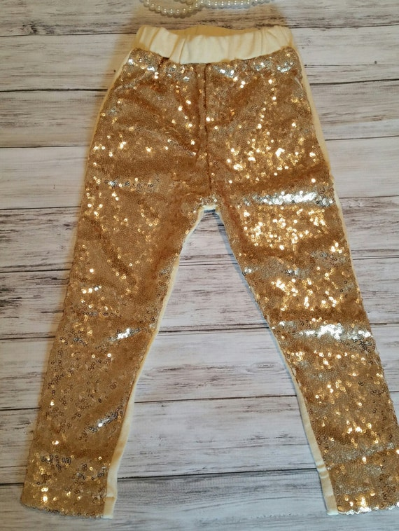 Items Similar To Couture Gold Sequin Girls Leggings Gold ...