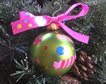 Personalized Candy Handpainted Christmas Ornament