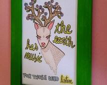 DOE deer illustration drawing frame wood oh deer