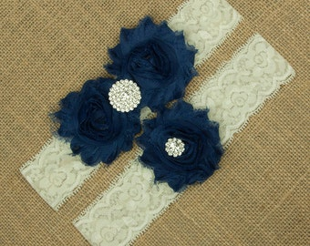 Navy Wedding Garter, Navy Blue Garter, Garter Set, Navy Blue Wedding Garter, Navy Blue Bridal Garter, Something Blue, Blue Garter, SCIS-B07