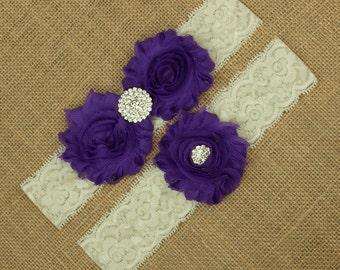 Purple Wedding Garter, Garter Set, Purple Bridal Garter, Purple Wedding, Bridal Garter Belt Wedding Garter Belt, Purple Garter Set, SCIS-P06