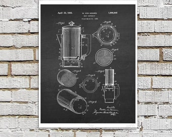 1930s era Drip Coffee Pot Design Patent print #3 Kitchen Art Decor, Chalkboard Patent art, Coffee wall art, Coffee Decor, Kitchen Wall Decor