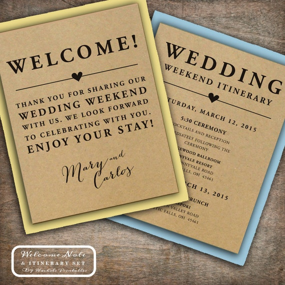 Welcome To Our Wedding Weekend Gift Bags: Wedding Welcome Note Itinerary Double Sided By