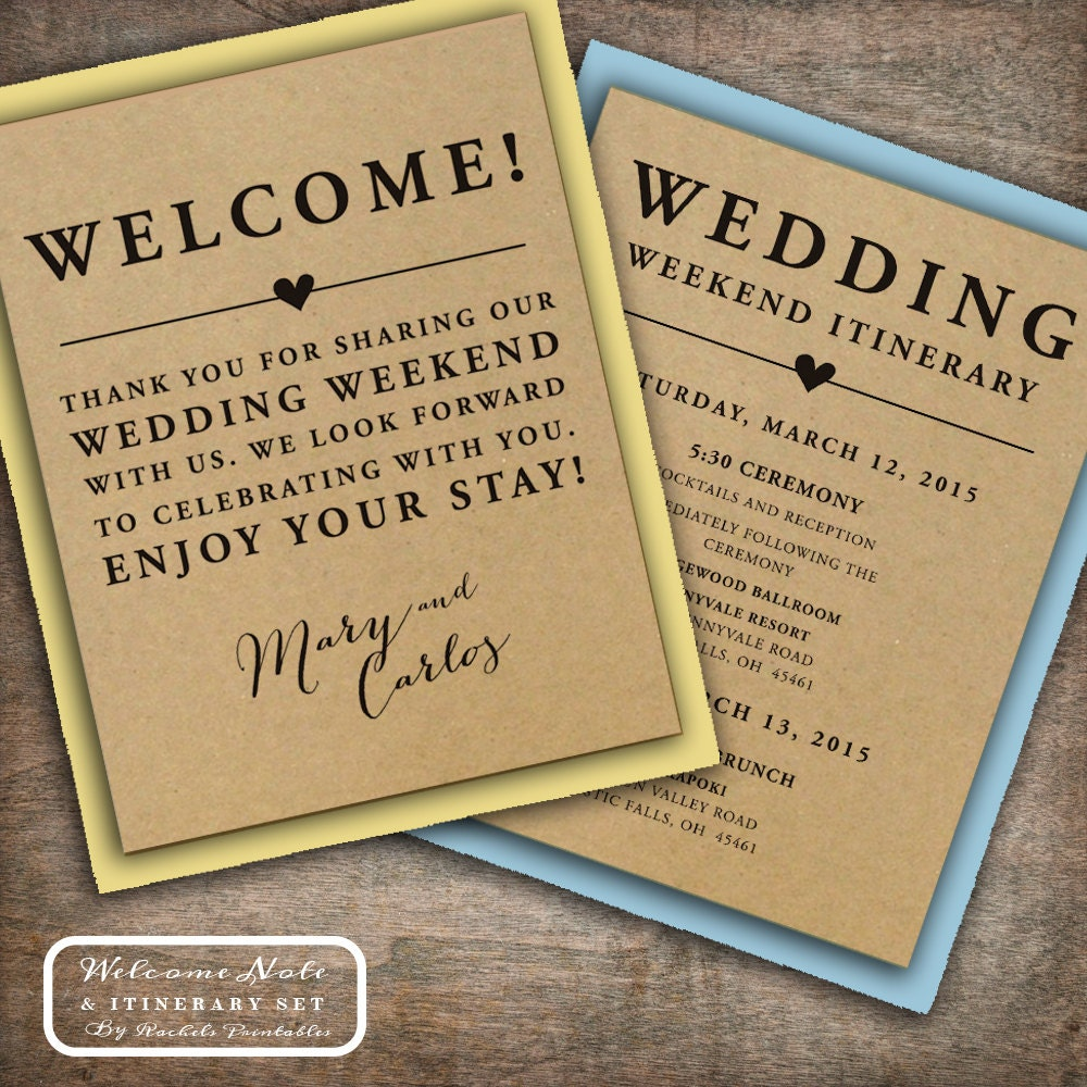 Wedding Welcome Note Itinerary Double Sided By