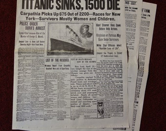 "Vintage Reprint of 1912 ""TITANIC SINKS"" Boston Daily Globe Newspaper Morning & Evening Edition Headline 12 pages"