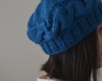 Hand Knit Teal Blue Beanie Hat, Knit Hat, Knit Beanie, Head Warmer, Slouchy Beanie, Slouchy Hat, Pom Pom Beanie, Pom Pom Hat