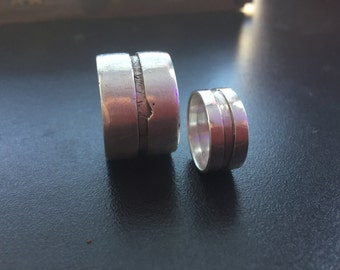 Silver wedding bands, partner rings, silver wedding set - Believe in you
