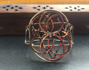 Copper and silver bracelet Seed of Life, handmade sacred geometry cuff
