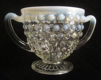 1940s Hobnail White Opalescent Moonstone Open Sugar Bowl