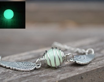 Luminous Necklace,Flying snitch ball Necklace with sided wings,Spinning ball pendant necklace,wire wrapped beaded jewelry