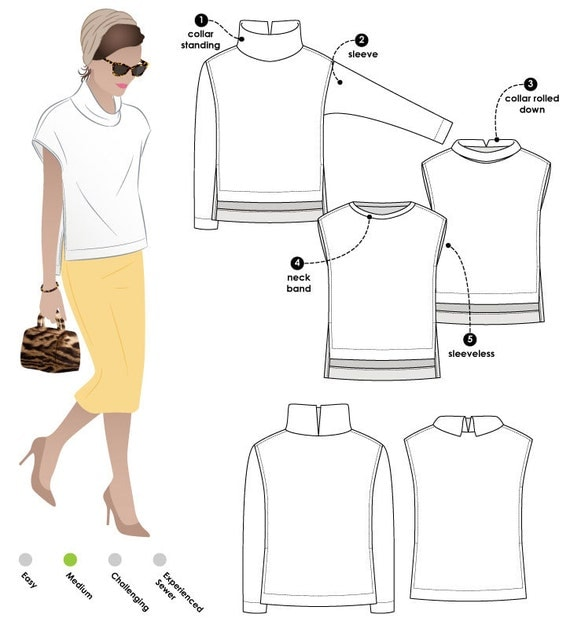 Esme Designer Top - Sizes 10, 12, 14 - Women's Top PDF Sewing Pattern by Style Arc - Sewing Project - Digital Pattern