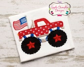 4th of July Monster Truck with Flag Applique Machine Embroidery Design, Fireworks, Truck, Summer, Spring, American Flag 5x5, 5x7, 6x10, 9x9
