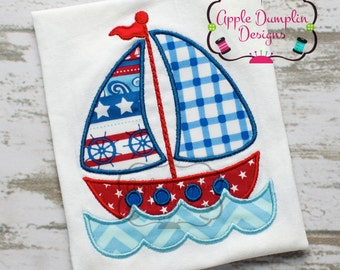 Sailboat with Water Appliqué Machine Embroidery Design, Summer, Spring, Anchor, Beach, Sailing, Fishing, Boy, Girl, Sailor, 5x7, 6x10