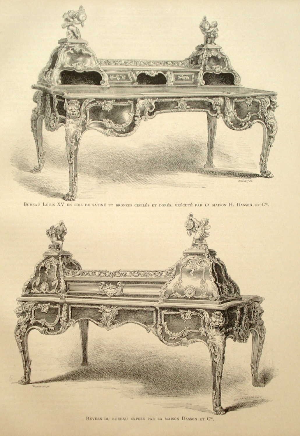 louis xv desk 1889 interior design print paris world fair expo furniture art 126 years. Black Bedroom Furniture Sets. Home Design Ideas