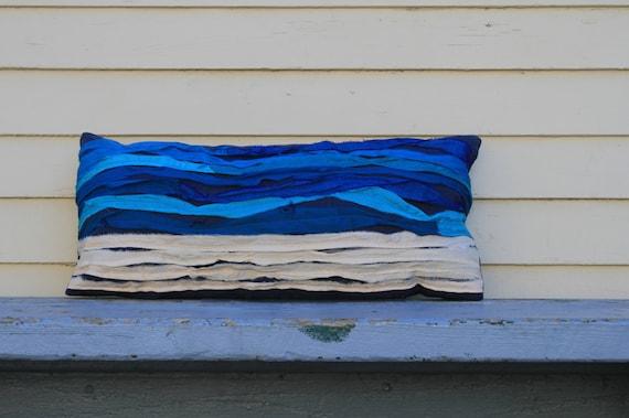Bicoastal Sari Waves Sea Pillow Beach House Pillow Modern Summer Coastal Pillow Ocean Seashore Decor Accent 12 x 24 Aqua Blue Lumbar Pillow
