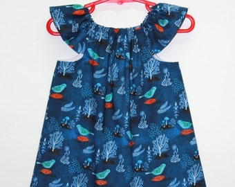 organic cotton baby dress, baby girl dress, organic baby dresses, organic dress, organic kids clothes,organic baby, navy, pomegranate birds