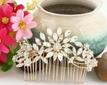 Bridal Crystal Flower Hair Comb-Gold crystal Hair Comb-Flower Bouquet Hair Comb-Clear Austrian Crystal Hair Comb-Flower Cluster Hair Comb