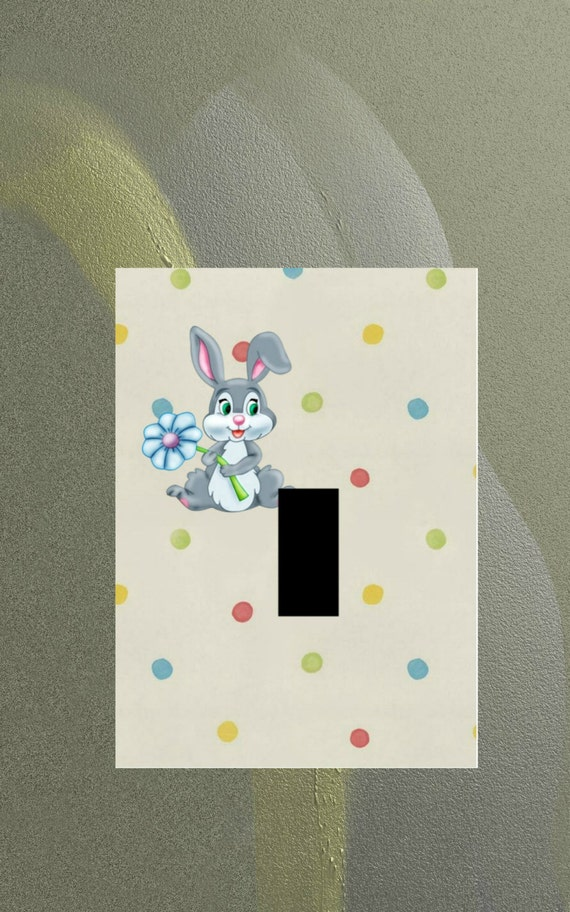 Bunny rabbit wall art home decor woodland theme light switch for Rabbit decorations home