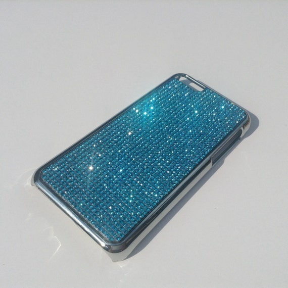 iPhone 5C Aquamarine Blue Crystal Chrome Case, iPhone 5C Bling Cover iPhone 5C Crystal Case Cover Velvet/Silk Pouch Bag Included.