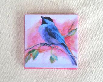 Chickadee Magnet / Bird Magnet / Chickadee Mini Canvas Magnet