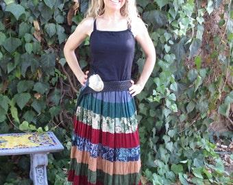 Vintage Phool Boho Gypsy Hippie Tiered Maxi Skirt
