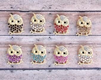 Owl Brooch, Owl Brooches, Owl Pin, Woodland Brooch, Owl Lover, Rhinestone Brooch, Costume Jewelry, Scarf Pin, Owl Brooch Pin, Animal Brooch