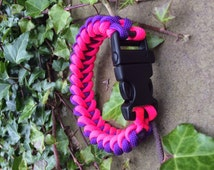 pink purple Paracord survival outdoor bracelet whistle gadget sharks tooth pattern.