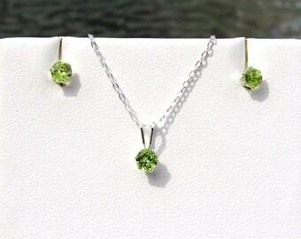 """Peridot Set, A+ grade 4mm PERIDOT- Sterling Silver Set-16"""" Necklace & Stud Earrings- August Birthstone"""