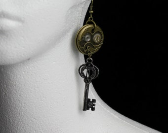Goth/Steampunk Key and Watch Gear/Cog Bronze and Silver Earrings