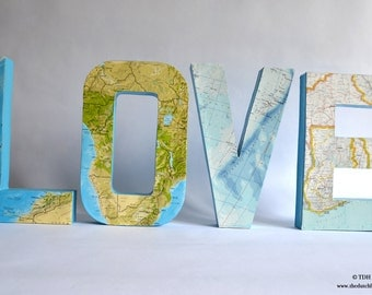 love home mr mrs decoupage map letters freestanding wedding letters 3 dimensional paper mache letters travel theme lightweight