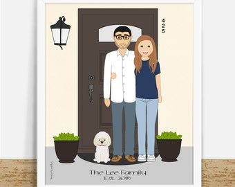 Gepersonaliseerde huis opwarming van de aarde Gift, aangepaste huis illustratie, familieportret met deur achtergrond, voordeur huis tekening