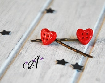 Two barrettes, hair clips, bobbypins hearts red, buttons fimo, clay polymer, fantasy, romantic hairstyle