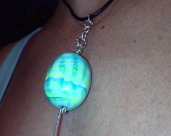 green and blue cylinder pendant
