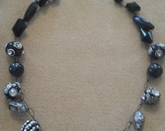 Crocheted wire and  bead necklace
