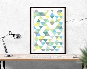 Digital Download // Triangle Print // Scandinavian print, Scandi Design, Motivational, Inspirational Print, Scandinavian Design, Wall Art