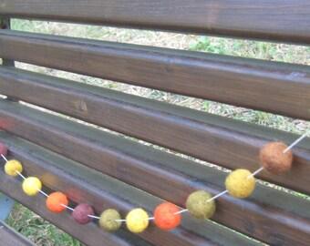 Felt ball garland, rustic home decorations, felt balls garland, mantel garland, mantel decor holiday garland, fall colors decorations