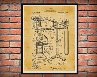 Patent 1919 Anesthetic Machine Art Print - Poster - Medical -  Doctors Office - Surgery - Hospital - Anesthesia - Wall Art - Medicine