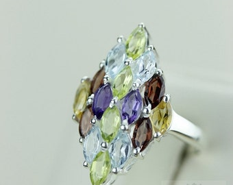 Size 7 MARQUISE AQUAMARINE PERIDOT (Nickel Free) 925 Fine S0LID Sterling Silver Ring & Free Worldwide Express Shipping r1261