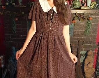 Vintage Dress Peter Pan Collar Dotted Swiss Dress 1960s 60s