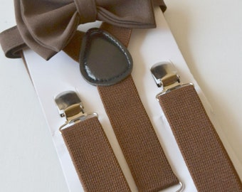 Brown Bow Tie & Brown Suspenders -- Ring Bearer Outfit. SHIPS FAST!**