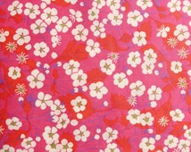 """Liberty Fabric Mitsi B tana lawn red pink white green purple 10"""" x 10"""" square (25,4 cm x 25,4 cm) red pink The Weavers Mill"""