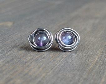 Fluorite stud earrings | Niobium stud earrings | Niobium earrings | Hypoallergenic niobium earrings